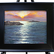 Sunrise Over Bay-Framed 11 X 14 Oil Painting-L. Warner Artist