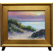 Seascape-Cape Cod Bay Sunset-11 X 14 Oil Painting-L. Warner Artist