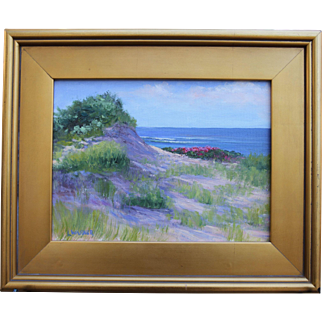 Summer Dunes-Original Oil Painting-Framed 9 x 12 by L.Warner