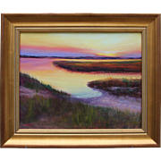Hush on the Marsh-Seascape Original Oil Painting-Framed 16 X 20-Artist L. Warner