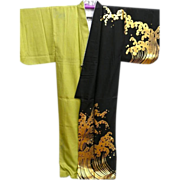 Vintage Two Tone Dance Kimono with Gold Painted Waves