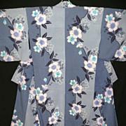 SALE Vintage Blue/Grey Japanese Yukata Kimono with Peonies