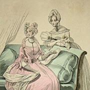 Antique Victorian Fashion Magazine Engraving 'Le Follett'