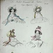 SALE Antique Hand Colored Fashion Magazine Illustration Engraving 'Le Follett' c1833.