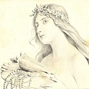 SALE Beautiful Vienneoise French Art Nouveau  'Sea Maiden with Shell' Postcard 1904