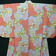 Art Deco Pink & Blue Silk Crepe Kimono with Cherry Blossom and Hexagons.