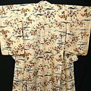 SALE Antique Apricot Floral Silk Kimono c1895.