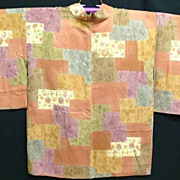 SALE Art Deco Patchwork Effect  Silk Haori c1930.