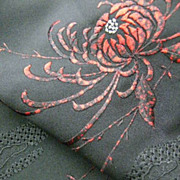 SALE Bold Black and Red Embroidered and Painted Haori c1970