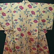SALE Art Nouveau Cerise and Beige Silk Kimono c1900