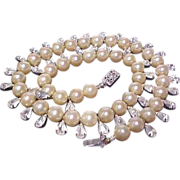 Vintage Faux Pearl and Crystal Necklace