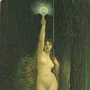 Antique German Artist Signed Postcard 'La Verite' c1910