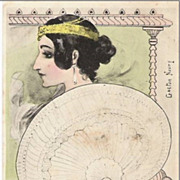Art Nouveau French Signed 'Water Lily Woman with Fan' Postcard 1902