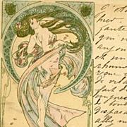 Alphonse Mucha Original Signed French Postcard 'La Danse' 1899