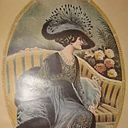 SALE Charming Edwardian Revival Artist Signed Poster 'd'Apres-midi' 1976