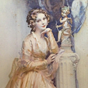 SALE Art Deco Signed Book Print 'Portrait of a Young Lady by a Statue'