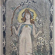 German 'Art Nouveau Maiden' Artist Postcard 1905.