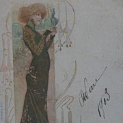 SALE Signed French Sarah Bernhardt Theatre Advertising Postcard 1903.