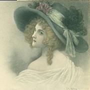 Vienne Art Nouveau Signed 'Regency Lady' Postcard 1908