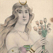 Original Hand Tinted and Gilded German 'Valkyrie with Poppies' Lithographic Postcard c1900
