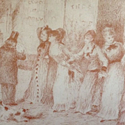 SALE Auguste Renoir Limited Edition Signed Sepia Engraving from 'L'Assommoir' by Zola 1909.