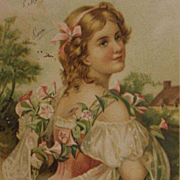 Art Nouveau Italian 'Girl with Convolvulus Flowers' Postcard 1904.