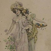 Edwardian Vienne 'Autumn' Postcard 1908.