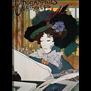 Nouveau Revival Signed Poster 'Lithographies Originales' by de feure 1973.