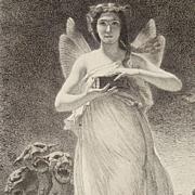 Antique Original French Etching 'Psyche in the Underworld' c1860.