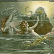SALE German Art Nouveau Opera Das Rheingold 'Mermaids' Postcard 1906.