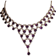 Egyptian Revival Sterling Silver Chain and Amethyst Festoon Necklace.