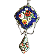 SALE Antique Micro Mosaic and Sterling Silver Pendant..Grand Tour Italian c1900