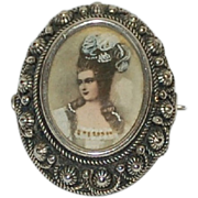 Victorian Italian Silver Grand Tour Madam de Pompadour Portrait Pendant Brooch