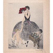 SALE Louis Icart Signed Art Deco French Etched Personal Menu 1934