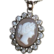SALE Victorian Cameo and Paste 925 Sterling Silver Gilt Pendant and Chain.