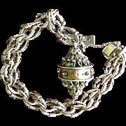 SALE 925 Sterling Silver Etruscan Revival Bracelet with Keeper.