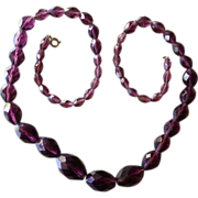 SALE Rich Amethyst Graduated Faceted Czech Bead Necklace.