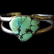 SALE Vintage Sterling Silver and Turquoise Bangle Bracelet