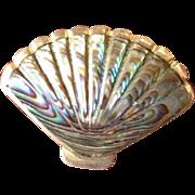 SALE Antique Australian Paua Shell and Silver Fan Brooch/Pin.