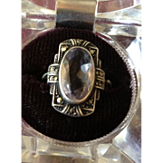 SALE Antique Silver Marcasite and Natural Amethyst Ring c1912