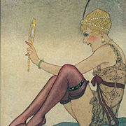Rare Art Deco French Signed Lorenzi 'Beauty with a Hand Mirror' Postcard
