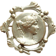 SALE French Art Nouveau Repousse Grecian Revival Lady Face Brooch/Pin with a Ginkgo Frame.
