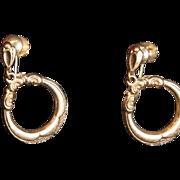 SALE Antique Victorian 9Karat Gold Etched Dangle Hoop Earrings
