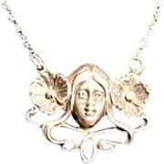 SALE Antique Victorian Silver Pendant Necklace 'Young Lady with Poppies in her Hair'.