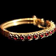SALE Edwardian Etruscan Revival Garnet and Gold-Filled Hinged Bangle Bracelet.