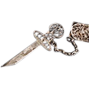 SALE Antique Cannetile Dagger and Scabbard Brooch Pin. c1910.