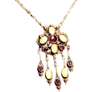 SALE Mid Victorian Moonstone and Amethyst Paste Lavaliere Necklace