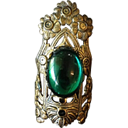 SALE Repousse Brass Flower and Green Cabochon Glass Ring c1900.