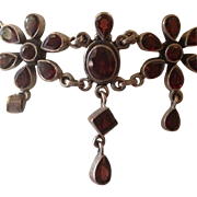 SALE Victorian Revival Style Garnet Glass and Sterling Flower Choker Necklace
