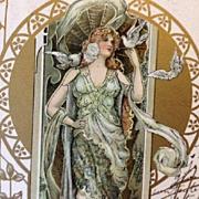 SALE Antique Rare Eva Daniell 'Maiden with Doves' Gilded Art Nouveau French Postcard 1902